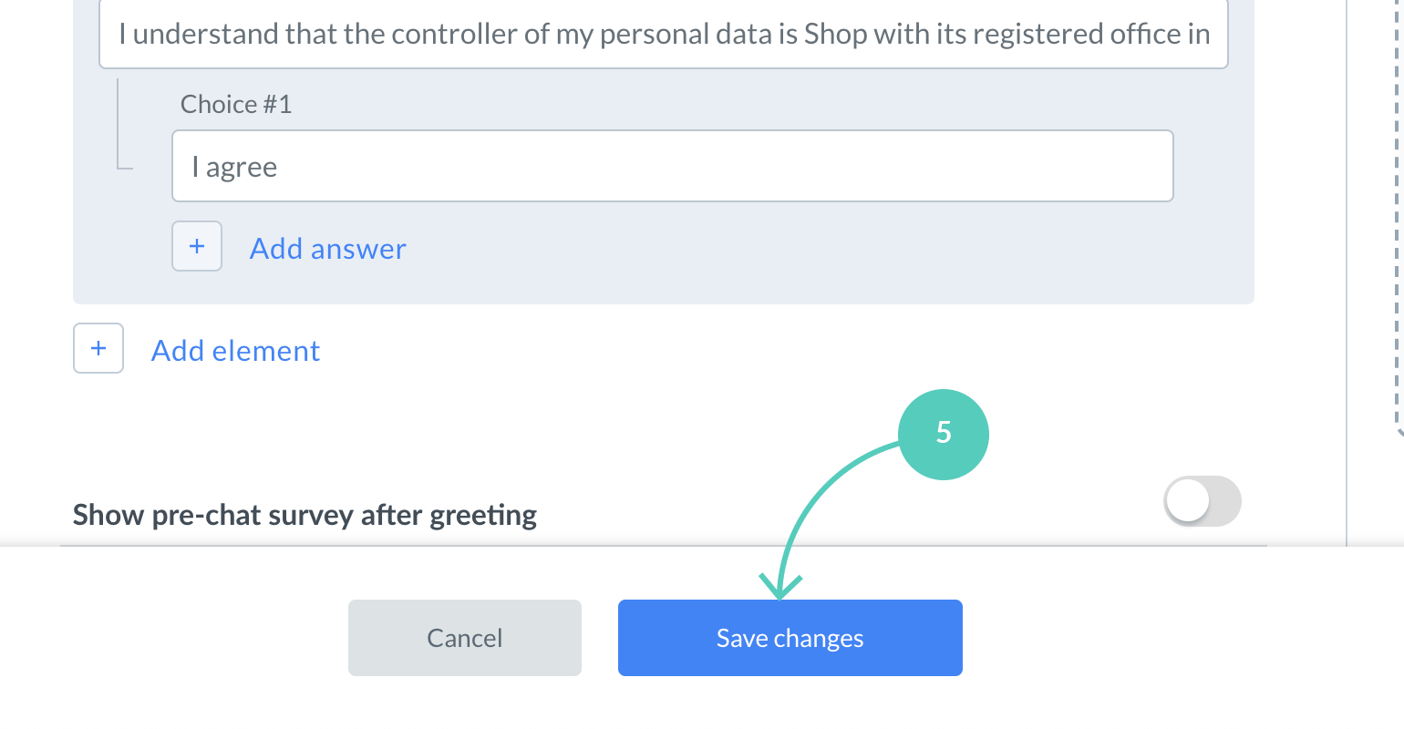 Click on Save changes to finalize adding a GDPR consent field