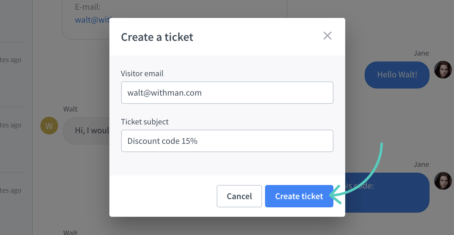 Create a ticket button