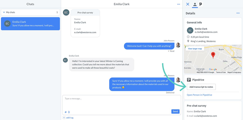 Customer Details app displayed as widget example