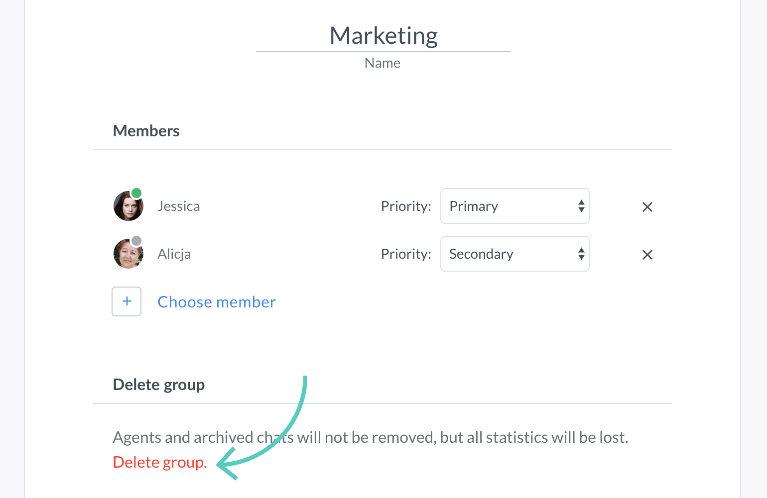 Delete group in group editing