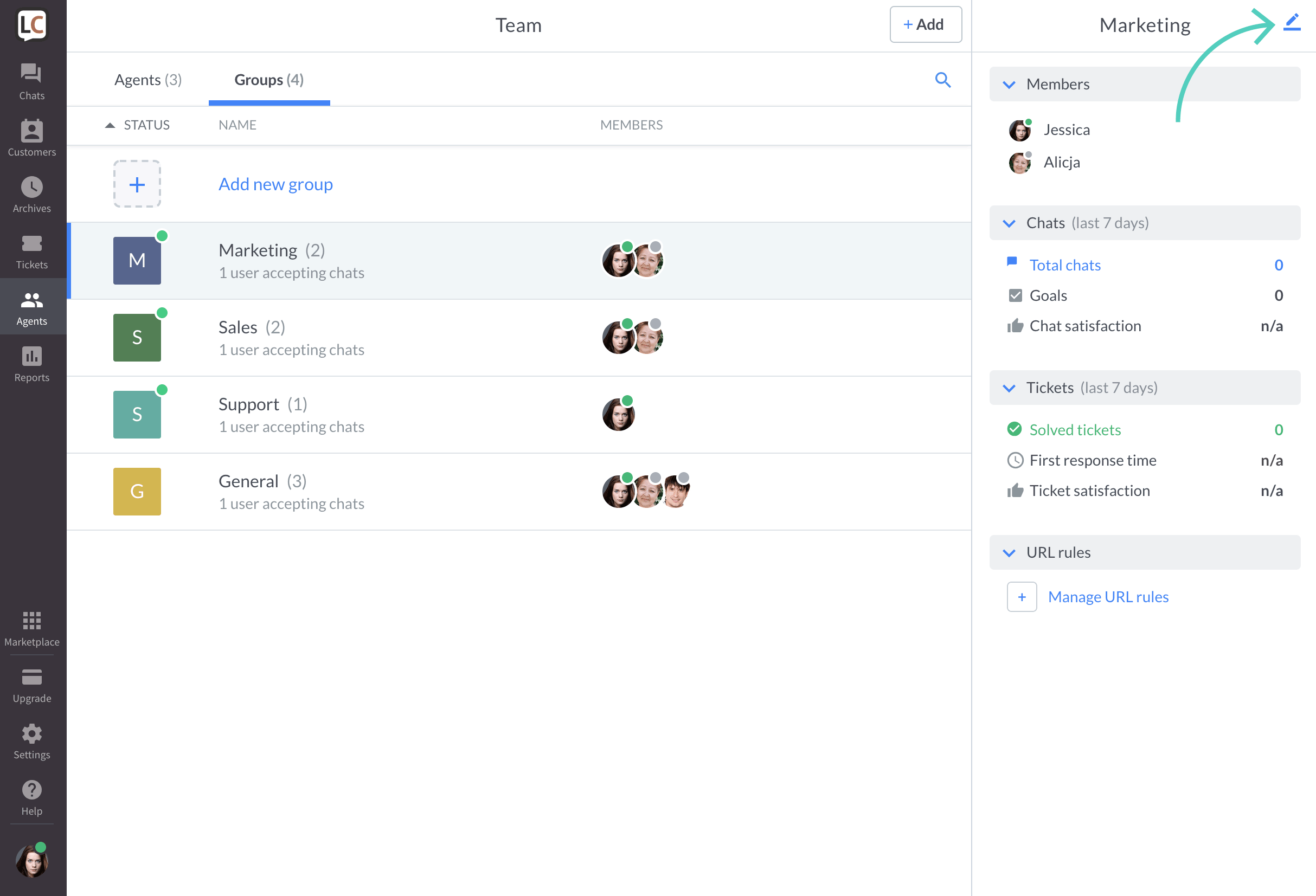 Edit a group in LiveChat