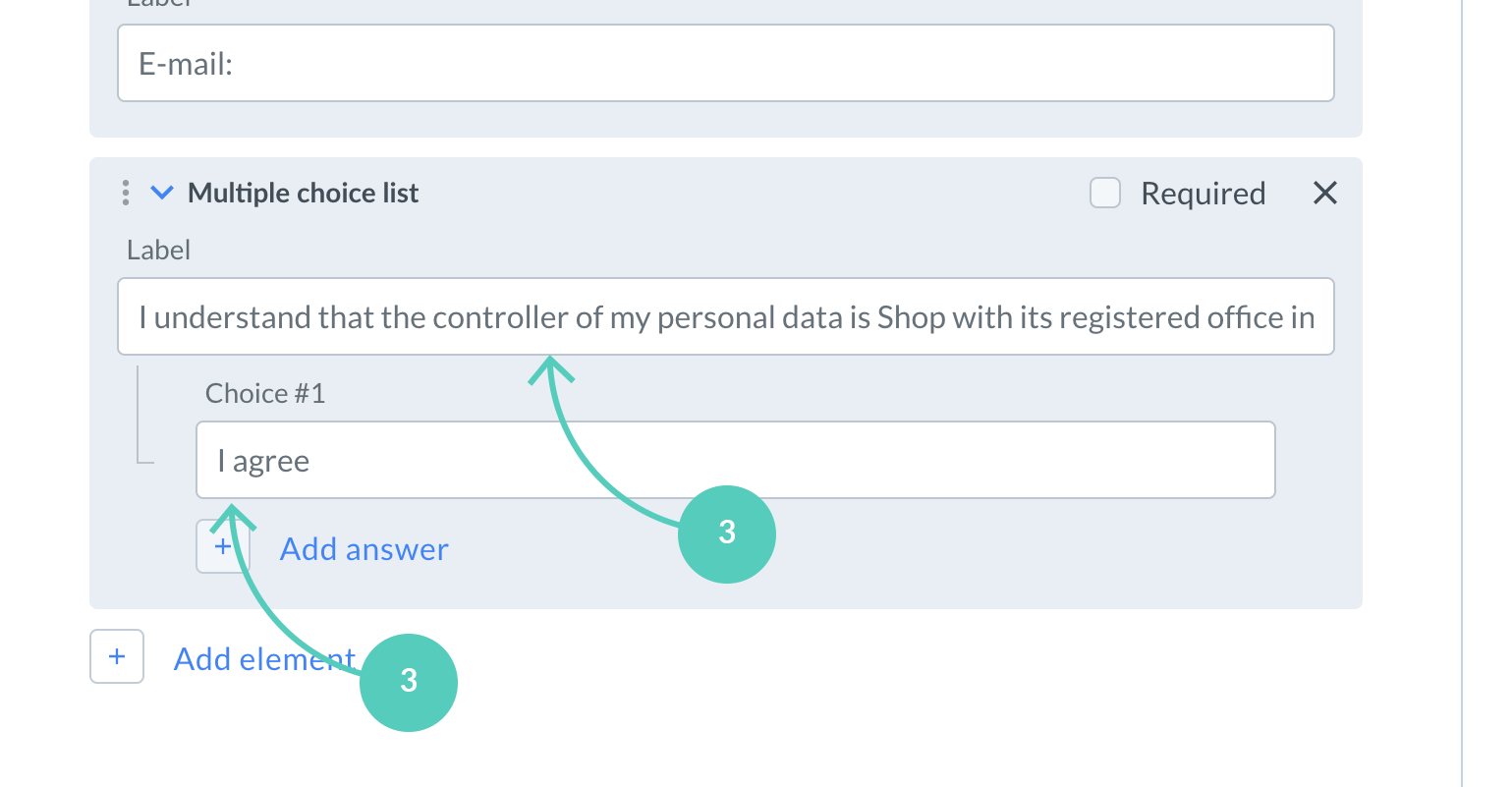 Fill in labels to create a GDPR consent field