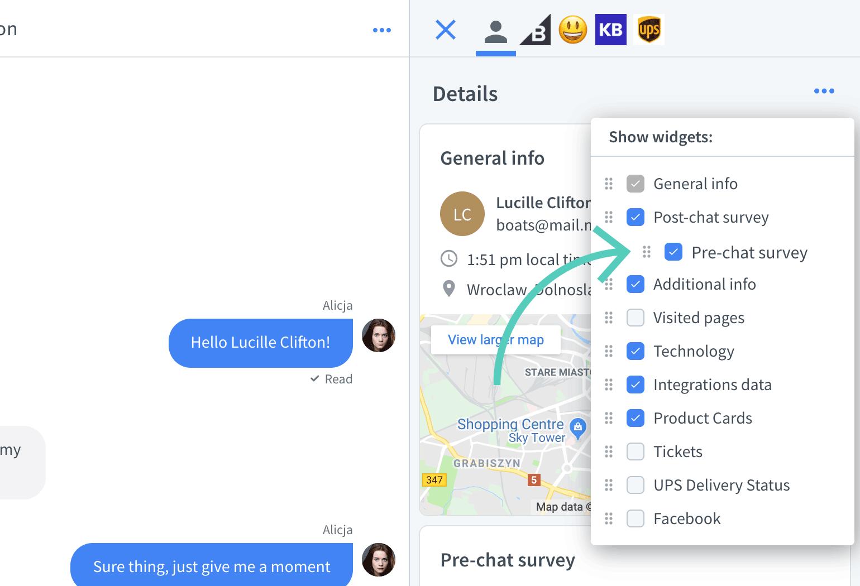 Reorder widgets in LiveChat