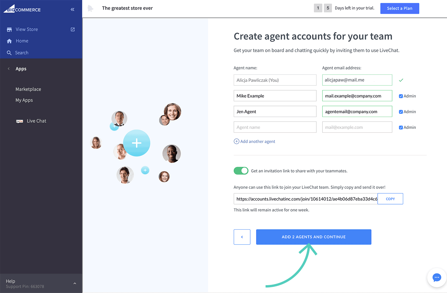 Add agents to LiveChat
