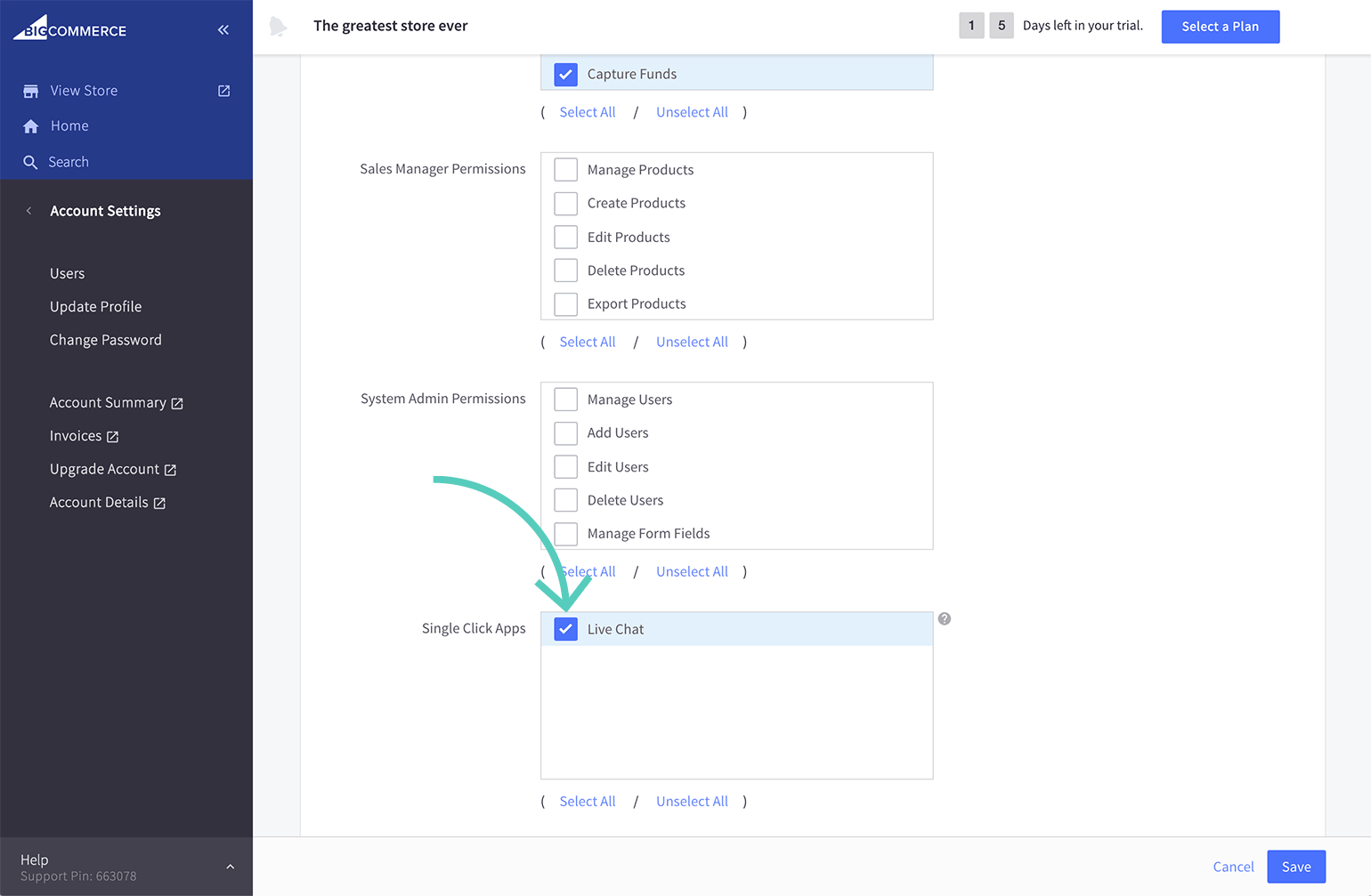 Add permission to edit LiveChat app