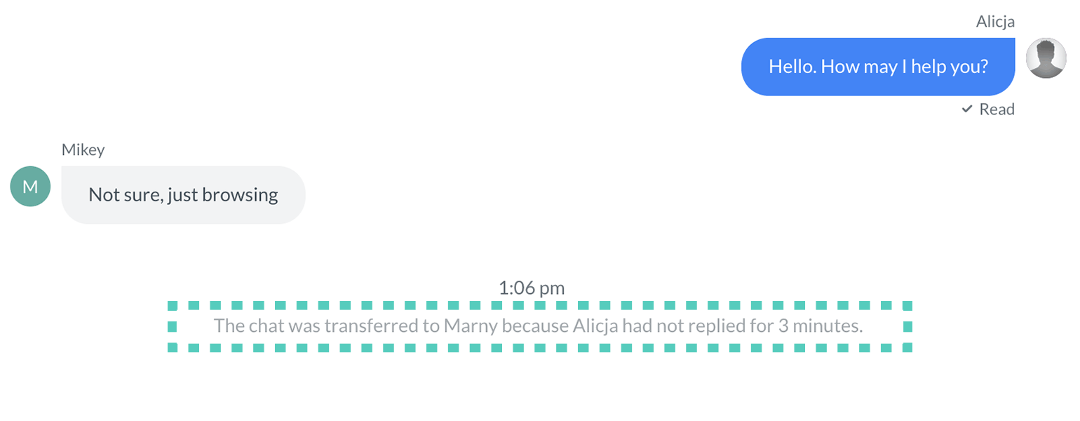 Chat transferred due to inactivity