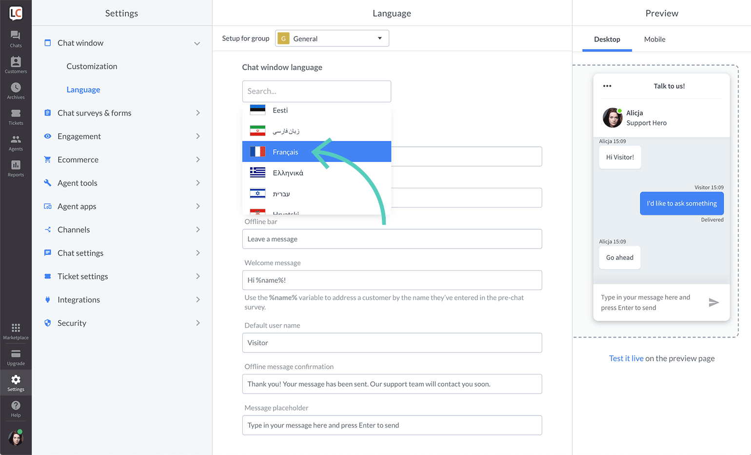 Choose a language from the list