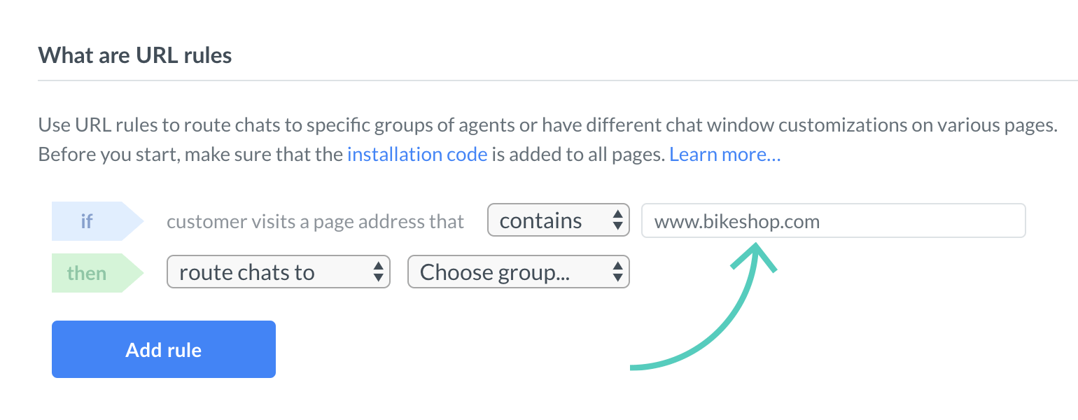 Add page address to a rule