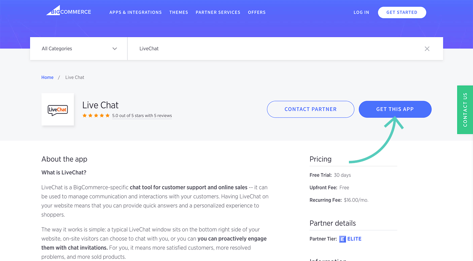Get LiveChat app from BigCommerce Marketplace