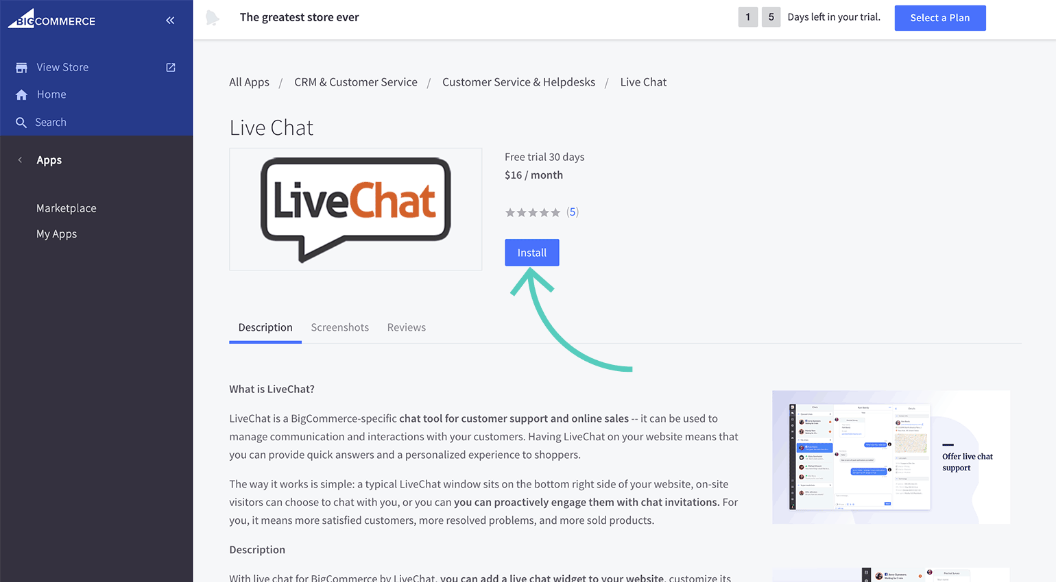 Install LiveChat on your BigCommerce store