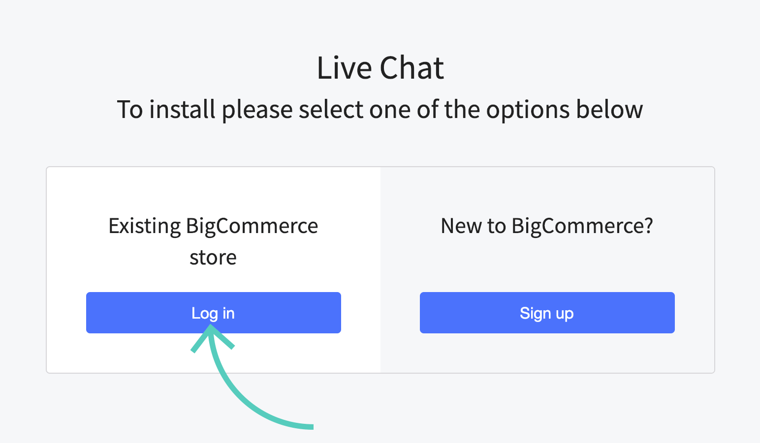 Log in to existing BigCommerce store