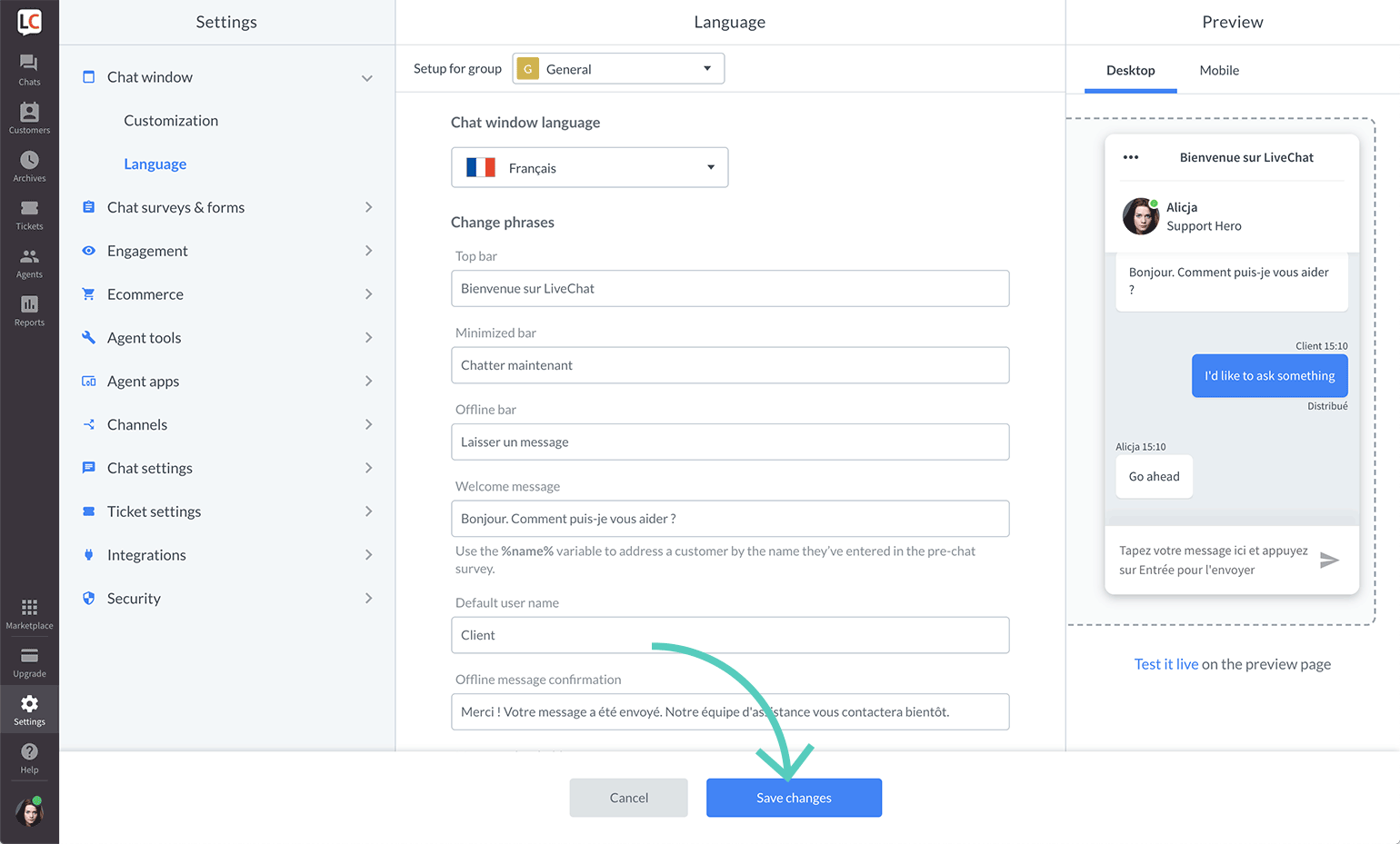 Save changes made to chat widget language settings