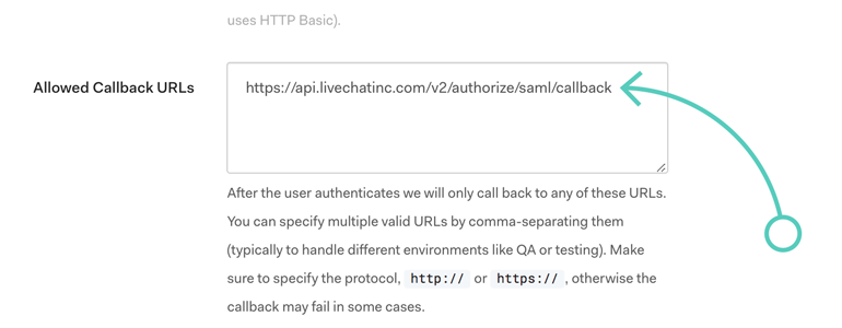 Paste allowed callback into your SSO app settings