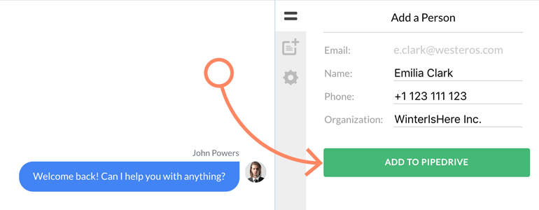 Provide additional details about your Person and click on Add to Pipedrive to proceed
