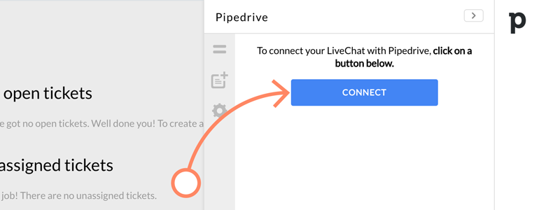 Click on Connect to link your Pipedrive with LiveChat