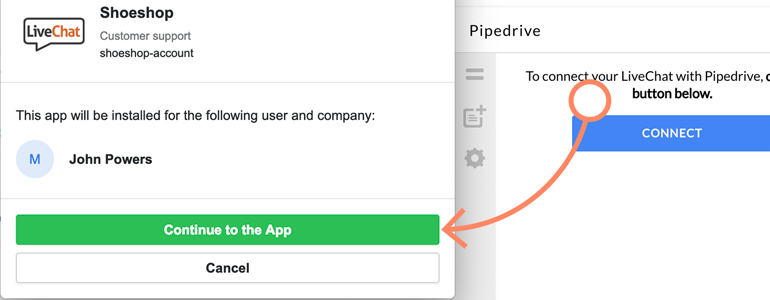 Click on Continue to app to finalize the process