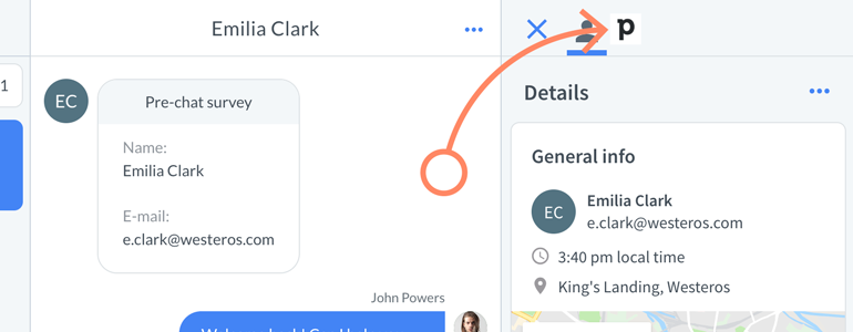 Open Pipedrive app, available at the top right section of your LiveChat
