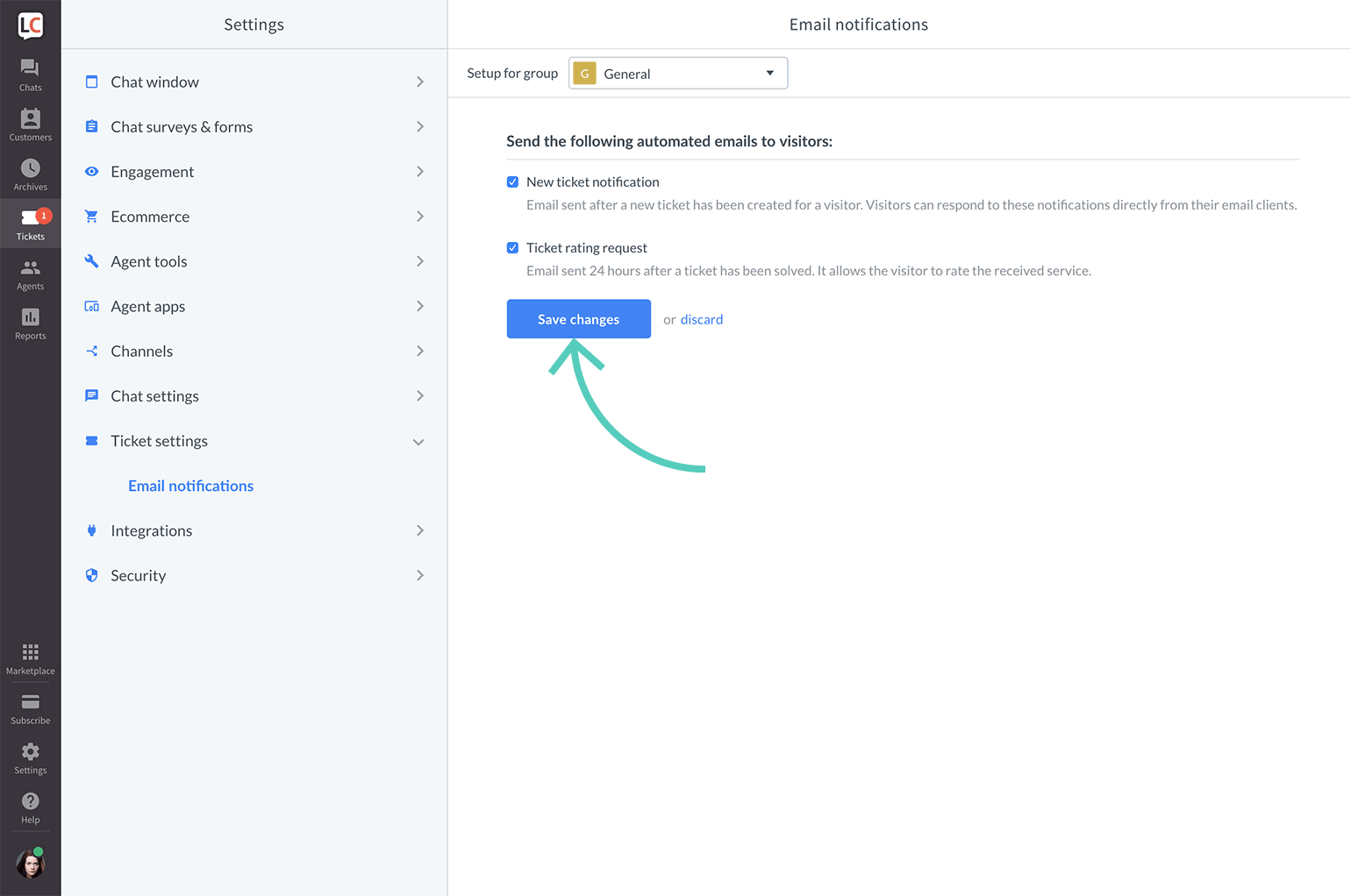 Automatic email notifications for customers