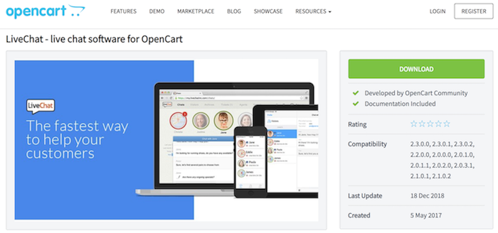 opencart livechat extension