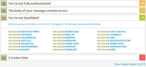 MailTester's blacklist report