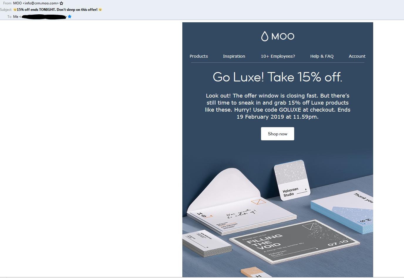 Moo email screenshot