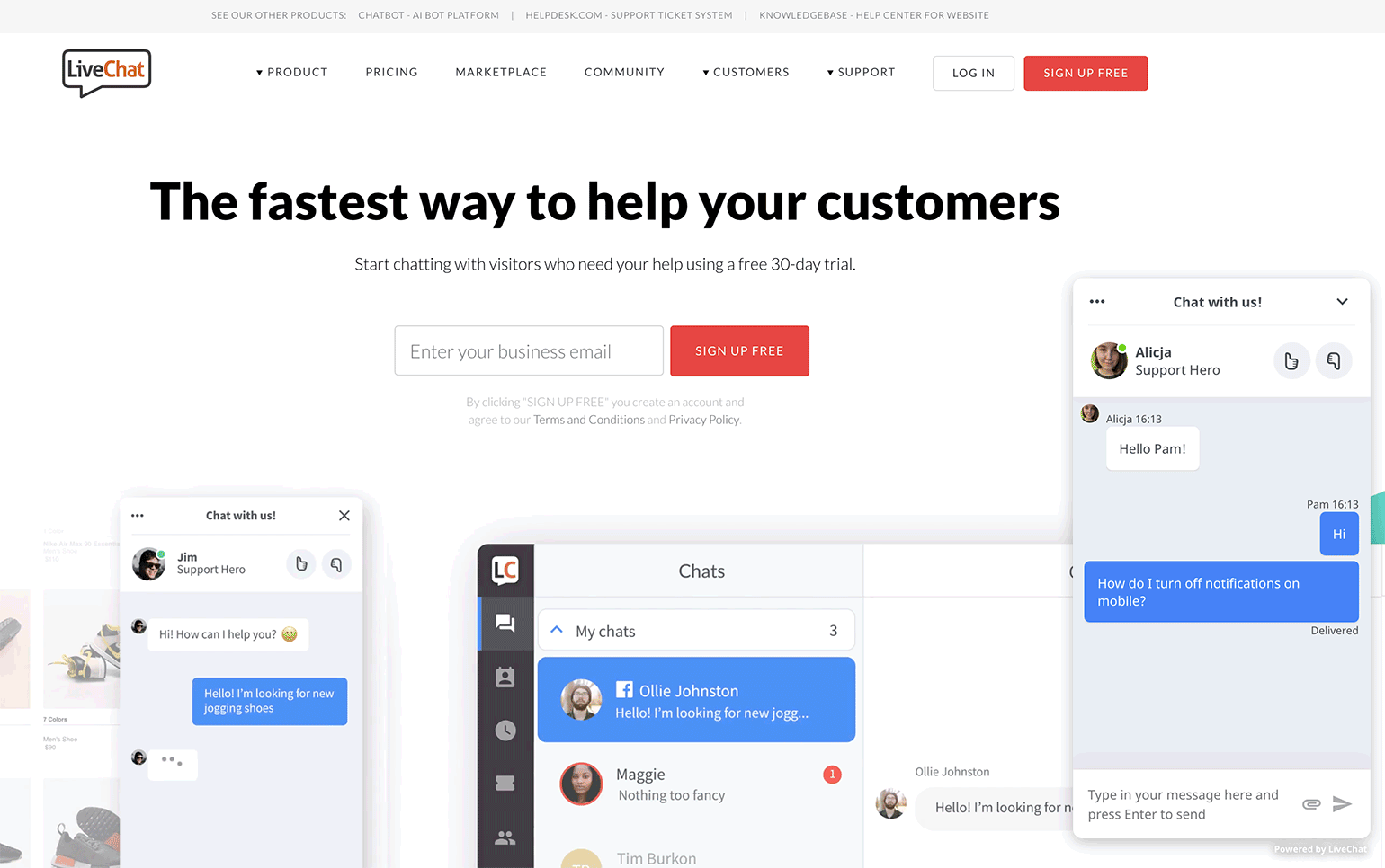 Chat widget on LiveChats website