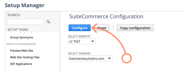 NetSuite LiveChat: Choose and configure domain to be linked with GTM