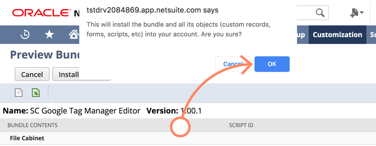 NetSuite LiveChat: Click on OK to finalize the process of installing SC Google Tag Manager