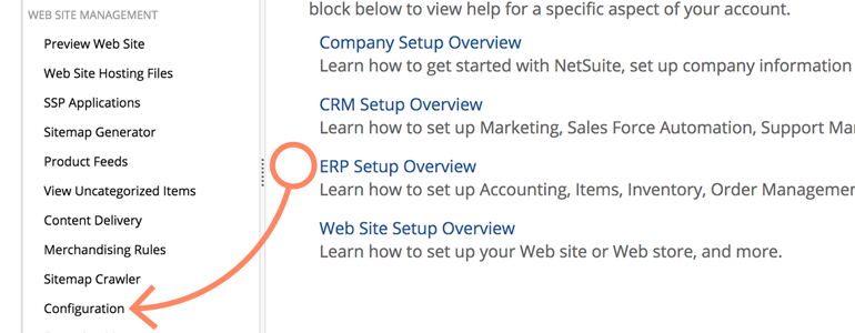 NetSuite LiveChat: Go to Configuration menu to choose NetSuite domain