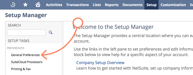 NetSuite LiveChat: Go to General Preferences in your Company menu