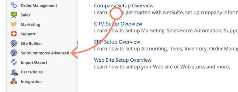 NetSuite LiveChat: Go to SuiteCommerce Advanced section