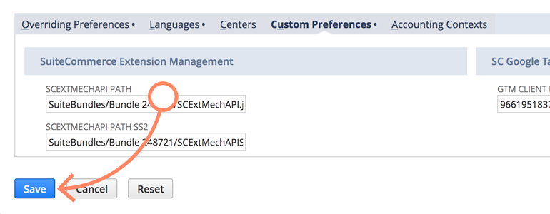 NetSuite LiveChat: Save changes to your GTM client ID configuration