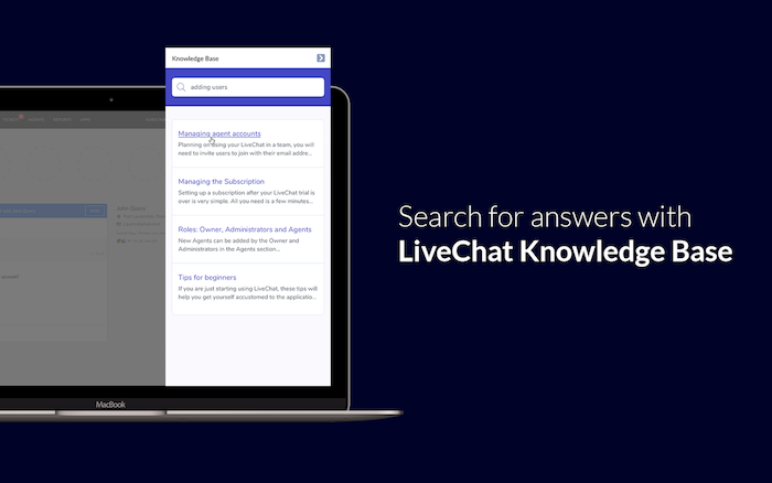 Knowledge Bases inside a chat widget