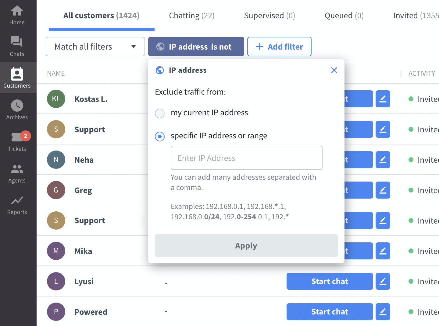 Exclude bots and ip addresses from the LiveChat customers list
