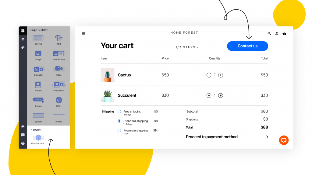BigCommerce Page Builder view. Arrows point to LiveChat custom contact  button widget, and the button on the preview of the BigCommerce store