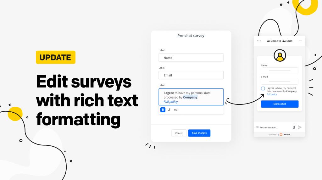 Edit surveys with rich text formatting