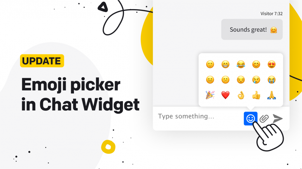 Image of chat widget with emoji picker opened. The caprion reads: Emoji picker in Chat Widget